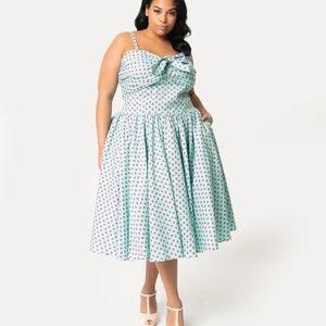 Unique Vintage Strawberry blue pink dress 2X 18